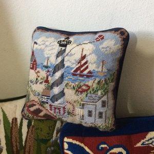 Vintage Accents - Vintage Needlepoint Light House Pillow Blue Velvet